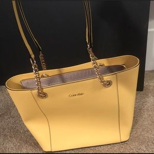 Yellow authentic Calvin Klein handbag